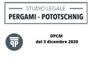 DPCM del 3 dicembre 2020