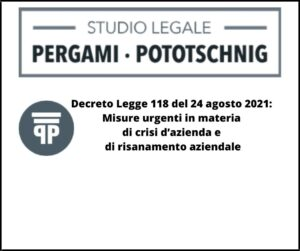 Decreto Legge 118 del 24 agosto 2021