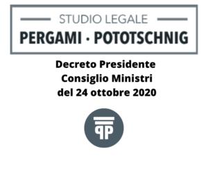 Decreto Presidente Consiglio Ministri del 24 ottobre 2020