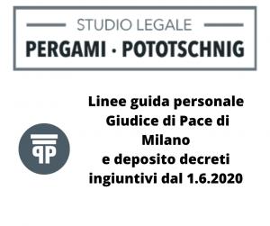 Linee guida personale Giudice di Pace di Milano