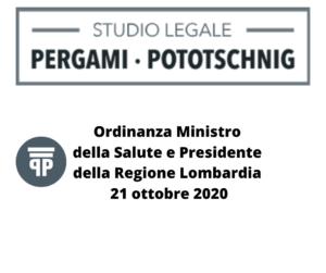 Ordinanza Ministro della Salute e Presidente della Regione Lombardia 21.10.2020