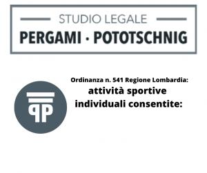 Ordinanza n. 541 Regione Lombardia