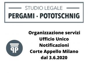 Organizzazione servizi Ufficio Unico Notificazioni Corte Appello Milano