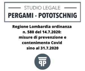 Regione Lombardia ordinanza n. 580