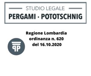 Regione Lombardia ordinanza n. 620 del 16.10.2020