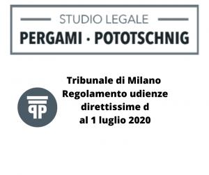 Tribunale di Milano Regolamento udienze direttissime