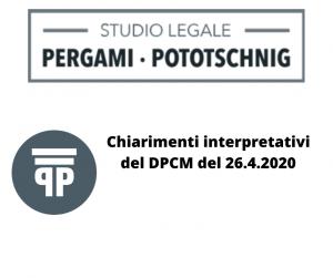 Chiarimenti interpretativi del DPCM del 26.4.2020