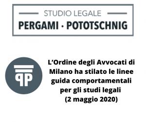 linee guida comportamentali per gli studi legali 2 maggio 2020