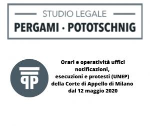 Orari operatività uffici notificazioni Corte Appello Milano